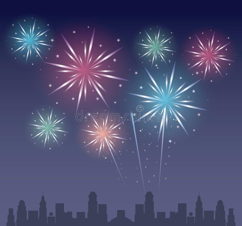 Vuurwerk op de stad royalty-vrije illustratie