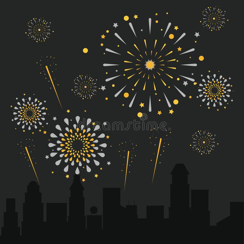 Vuurwerk op de stad vector illustratie