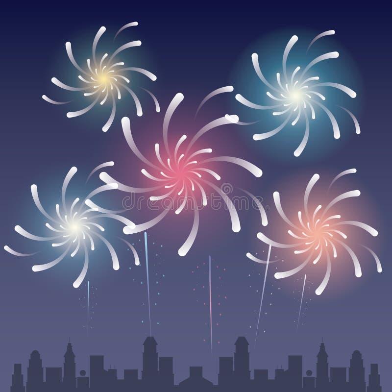 Vuurwerk op de stad stock illustratie