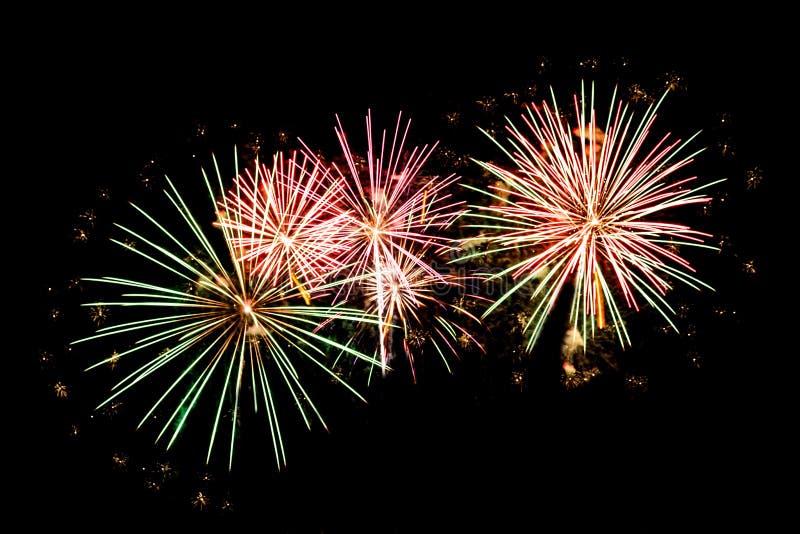 Vuurwerk op de vooravond van het Nieuwjaar stock fotografie