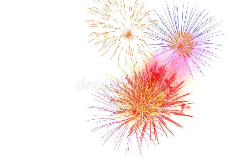 vuurwerk op witte achtergrondvuurwerkviering wordt geïsoleerd Ha dat stock afbeelding