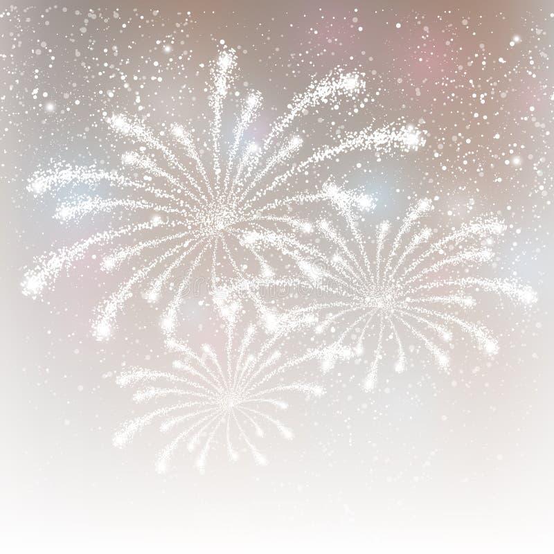 Vuurwerk op zilveren achtergrond stock illustratie