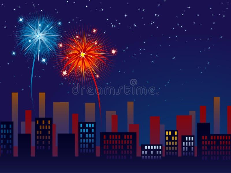 Vuurwerk over de stad royalty-vrije illustratie