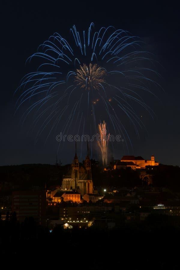 Vuurwerk over het kasteel - Ignis Brunensis royalty-vrije stock foto