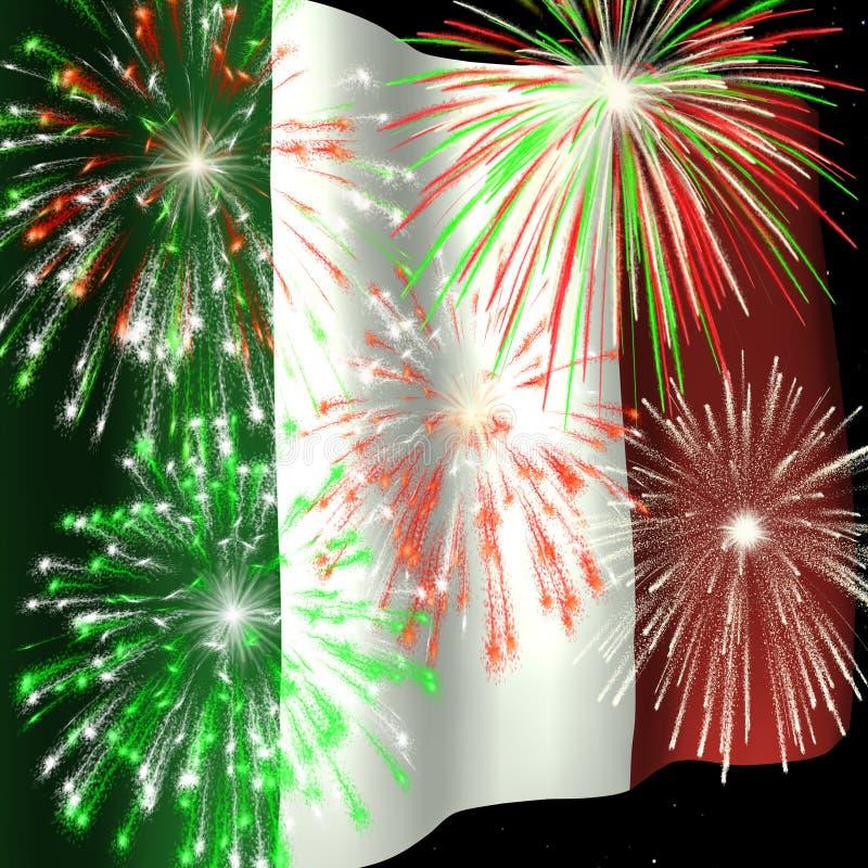 Vuurwerk over Italiaanse Vlag 1 stock illustratie