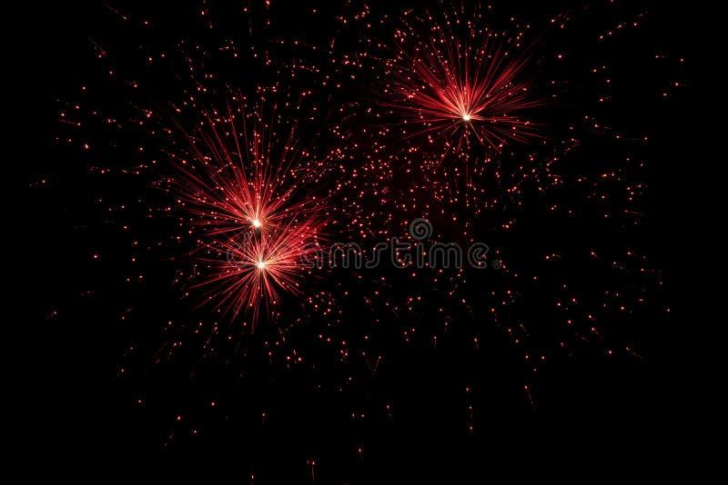 Vuurwerk over zwarte hemel stock afbeelding