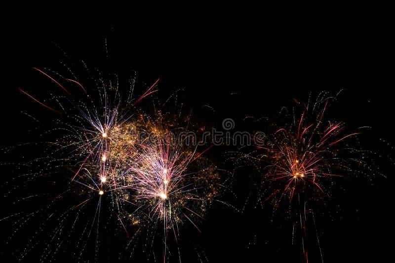 Vuurwerk over zwarte hemel royalty-vrije stock foto