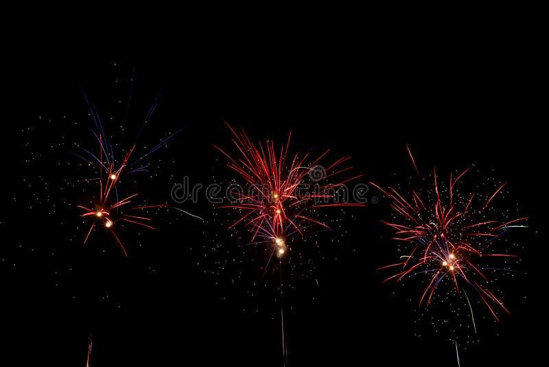Vuurwerk over zwarte hemel royalty-vrije stock foto's