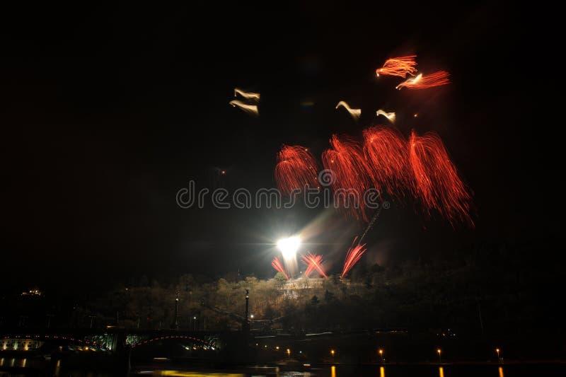 Vuurwerk in Praag stock foto's