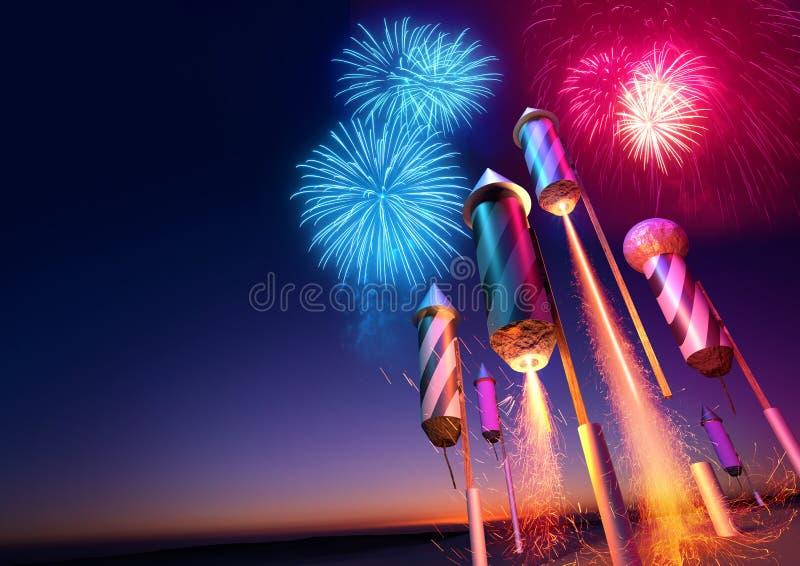 Vuurwerk Rockets Launching royalty-vrije illustratie
