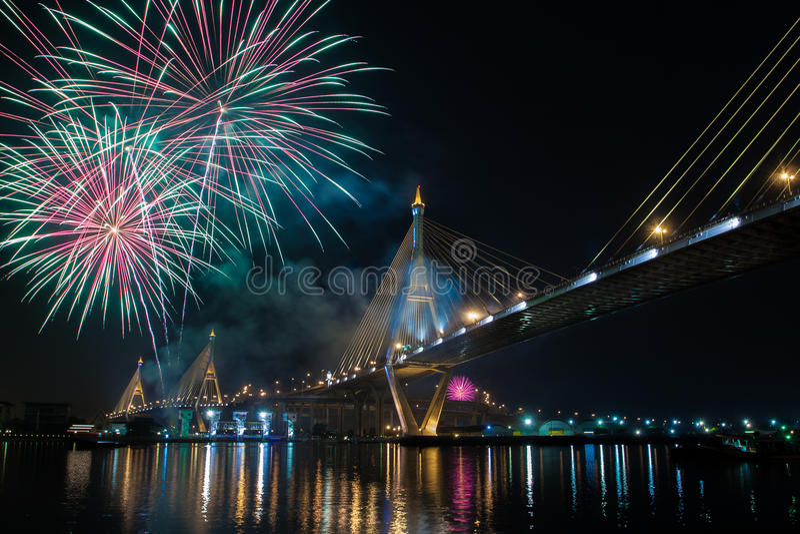 Vuurwerk in Thailand royalty-vrije stock afbeelding