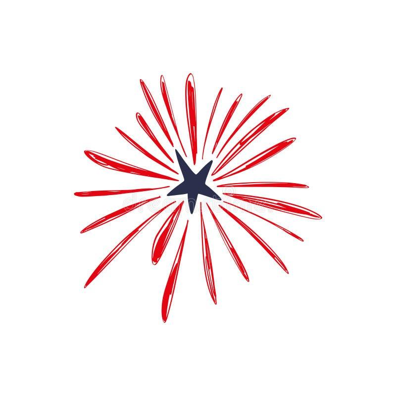 Vuurwerk van de krabbel viert het hand getrokken vallende ster, de dag van de de vakantieonafhankelijkheid van de V.S., four Juli royalty-vrije illustratie