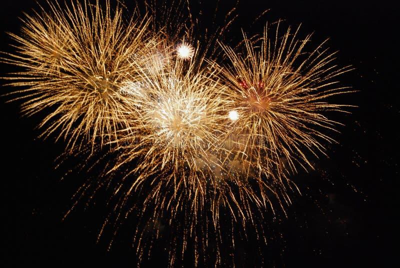 Vuurwerk van gouden kleur, tegen de zwarte nachthemel stock foto