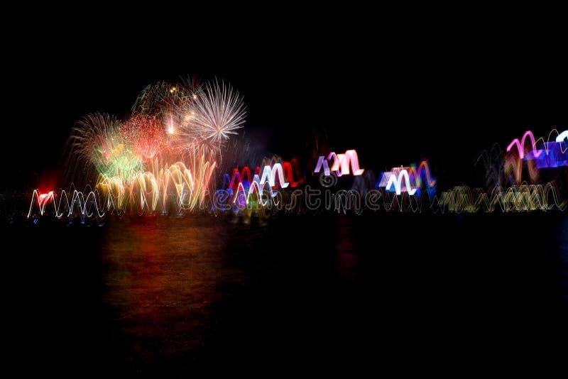 Vuurwerk in Victoria Harbour royalty-vrije stock foto's