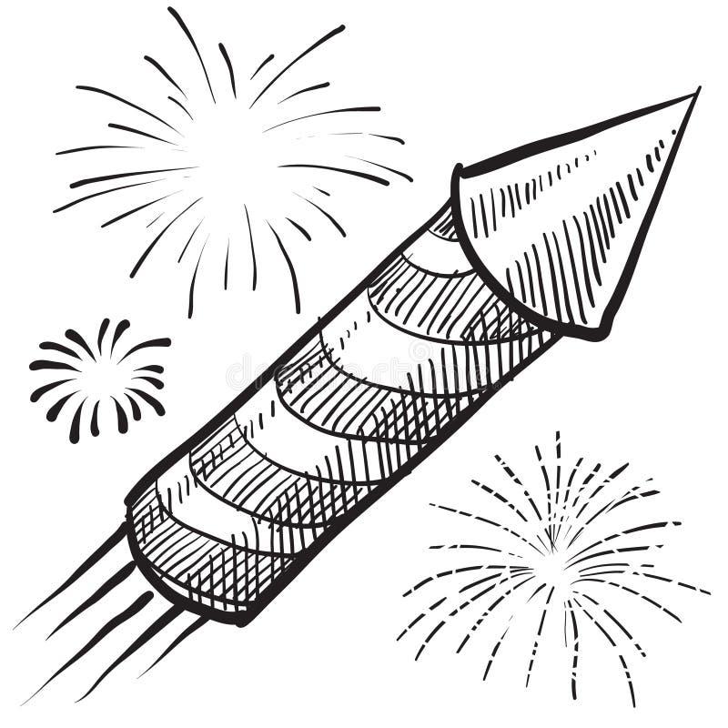 Vuurwerk vierde van de illustratie van Juli