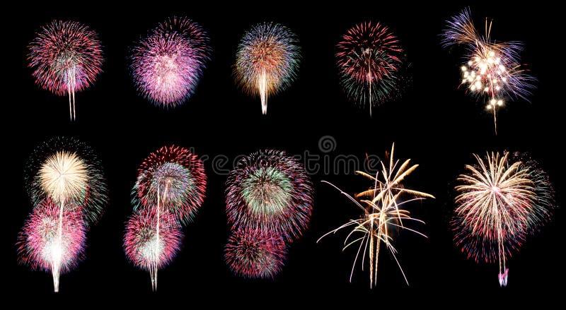 Vuurwerk of voetzoeker in verschillende tien. royalty-vrije stock fotografie