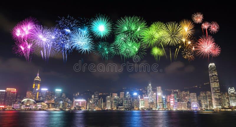 Vuurwerkfestival over Hong Kong-stad stock fotografie