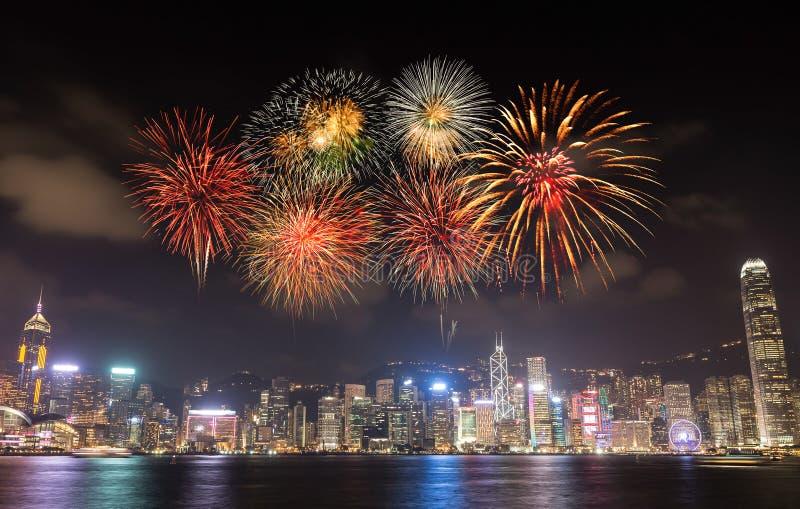 Vuurwerkfestival over Hong Kong-stad royalty-vrije stock fotografie