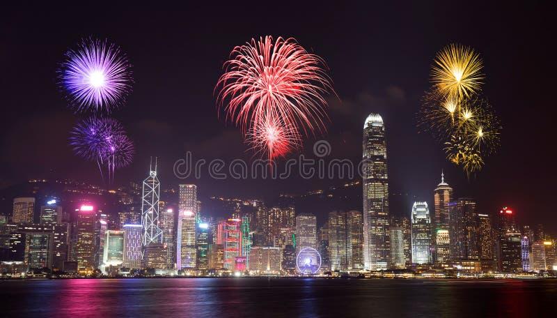 Vuurwerkfestival over Hong Kong-stad royalty-vrije stock afbeelding