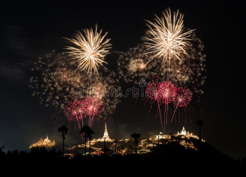 Vuurwerkfestival in Phra Nakhon Khiri (Khao Wang), Phetchaburi royalty-vrije stock foto
