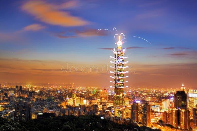 Vuurwerkfestivallen in Taiwan stock foto