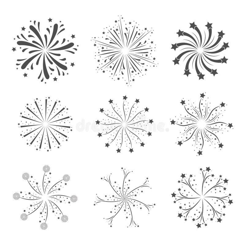 Vuurwerkflitsen in grayscalesilhouet worden geplaatst over witte achtergrond die royalty-vrije illustratie