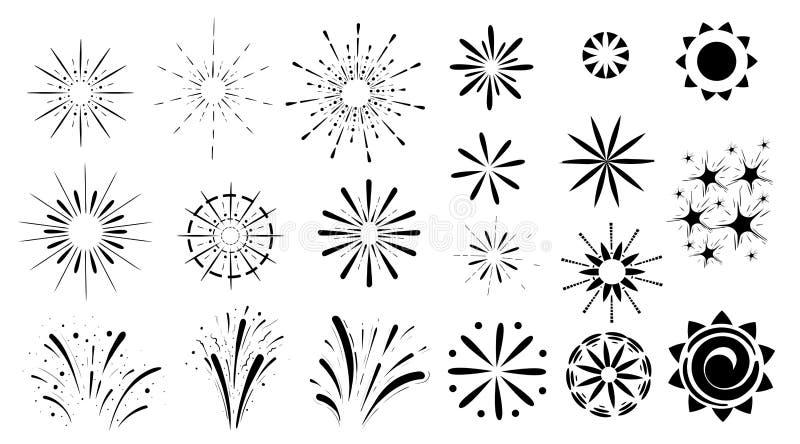 Vuurwerkreeks zwarte pictogram verschillende die soorten explosie op witte achtergrondwebsitepagina en mobiel app ontwerp worden  stock afbeelding