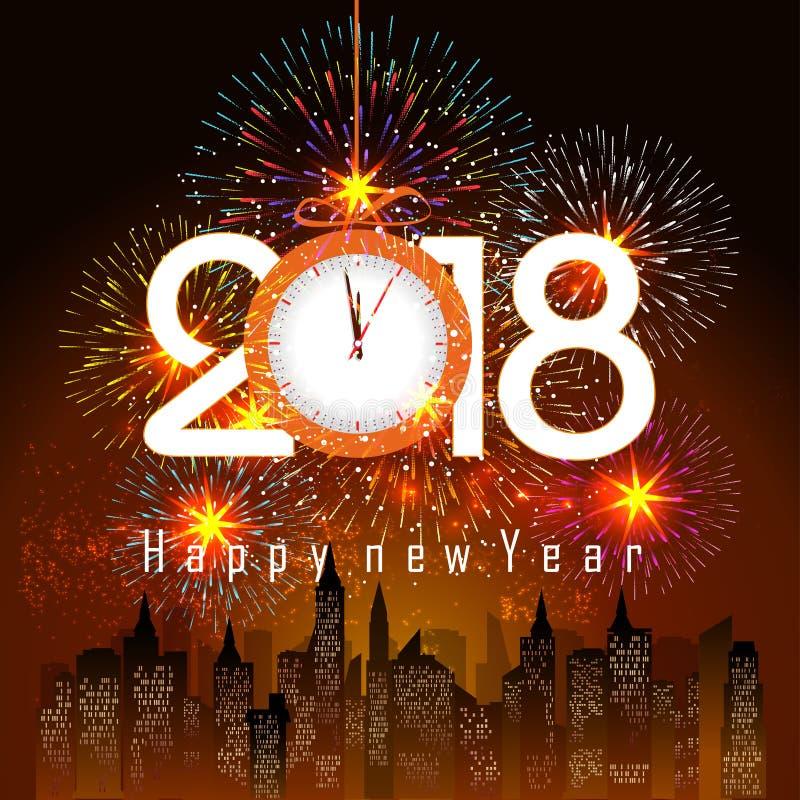 Vuurwerkvertoning voor gelukkig nieuw jaar 2018 boven de stad met klok royalty-vrije illustratie