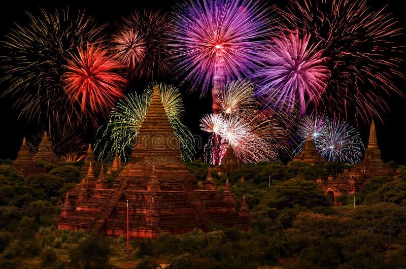 Vuurwerkviering bij Oude Stad Bagan royalty-vrije stock afbeelding