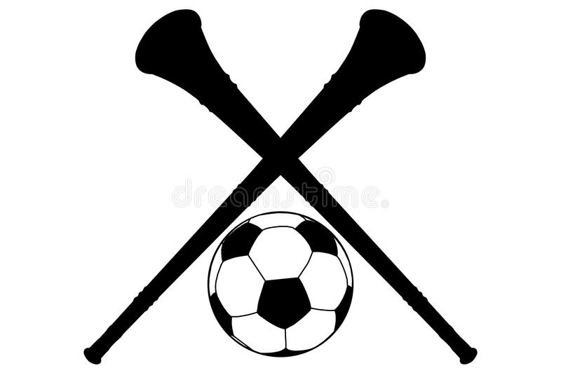Vuvuzela Horn And Soccer Ball Silhouette Isolation Stock Photography