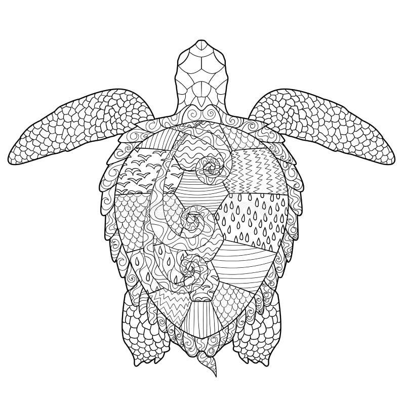 Vuxen antistress färgläggningsida med sköldpaddan royaltyfri illustrationer