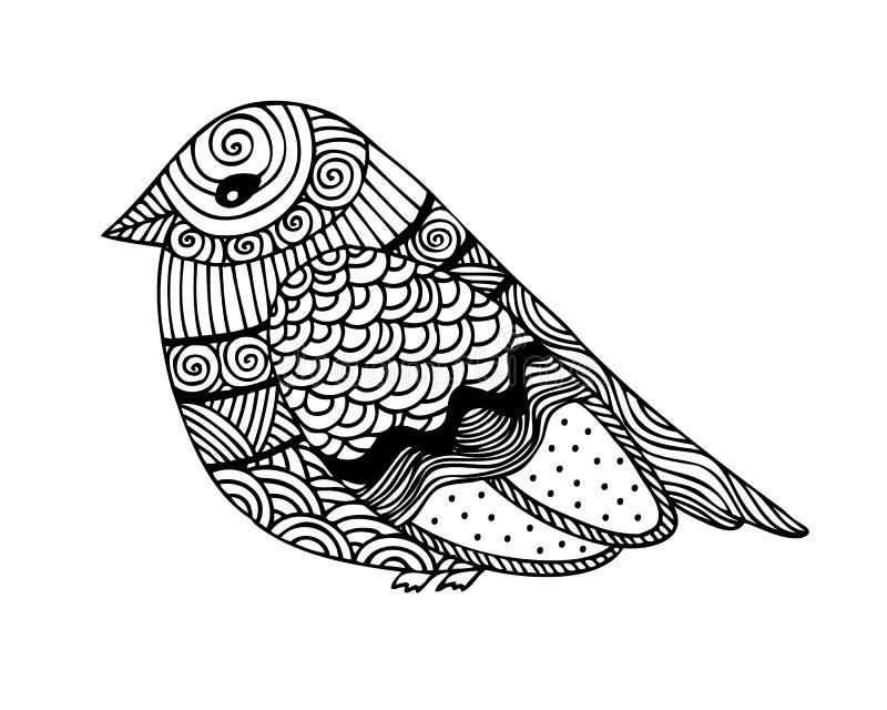 Vuxen design för sida för färgläggningbok med den fantastiska fågeln vektor illustrationer