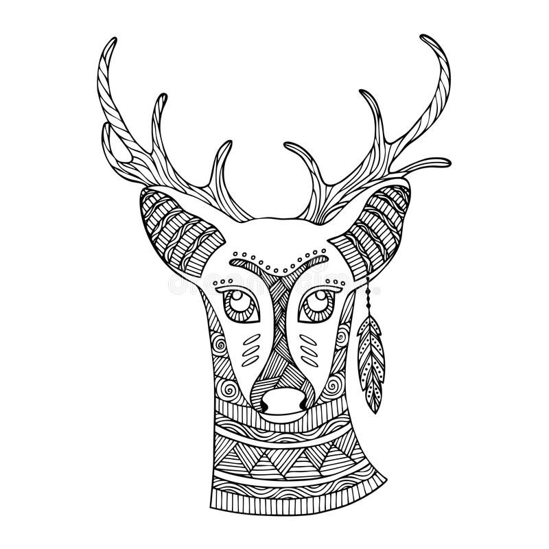 Vuxen design för sida för färgläggningbok med fantastiska hjortar stock illustrationer
