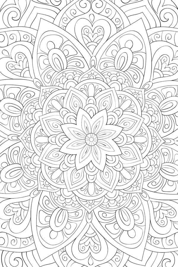 Vuxen färga bok, sida en abstrakt bakgrund för zen för att koppla av aktivitet Illustration för Zenkonststil vektor illustrationer