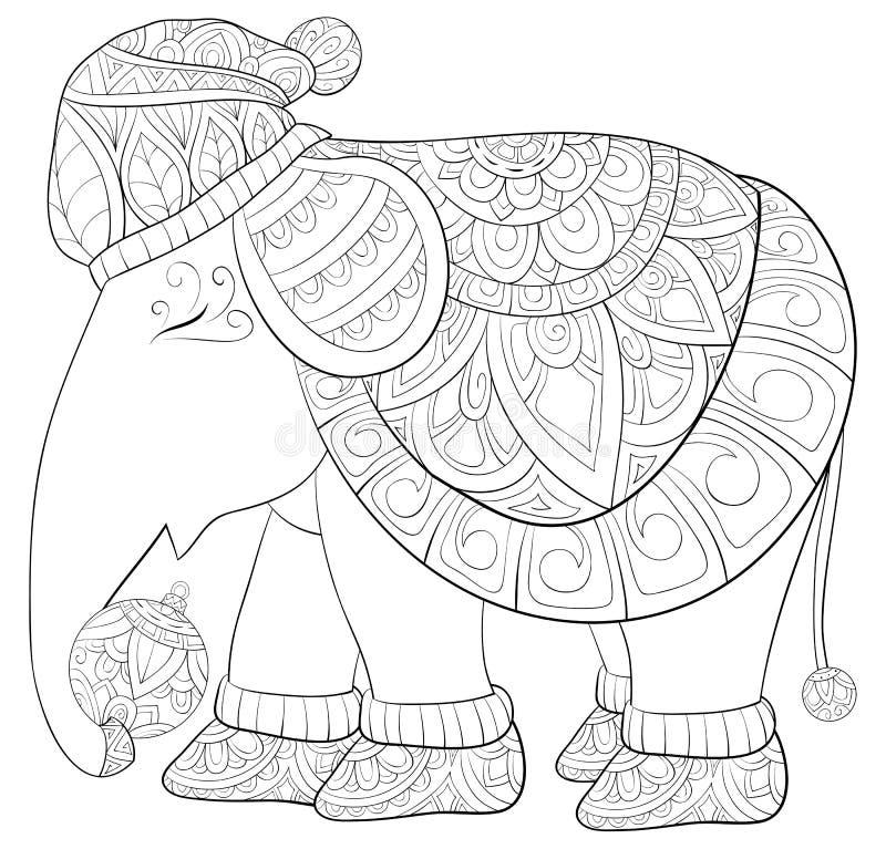 Vuxen färga bok, sida en gullig elefant som bär ett jullock vektor illustrationer