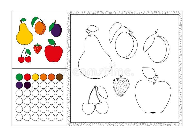 Vuxen färgad mall för färgläggningbok sida, dekorativ ram och färgprovkarta - svartvit konturbild för vektor - frukt royaltyfri illustrationer
