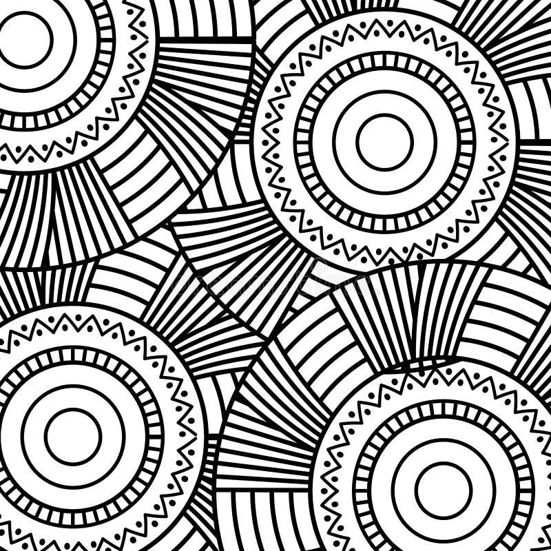 Vuxen färgläggning för sömlös för rundaabstrakt begrepp för modell blom- för tappning dekorativ bakgrund för beståndsdel royaltyfri illustrationer