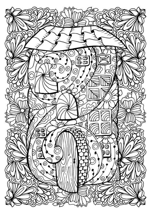 Vuxen färgläggningbokomslagdesign Mono illustration för färgsvartfärgpulver, vektorkonst Felikt hus med den öppna dörren royaltyfri illustrationer