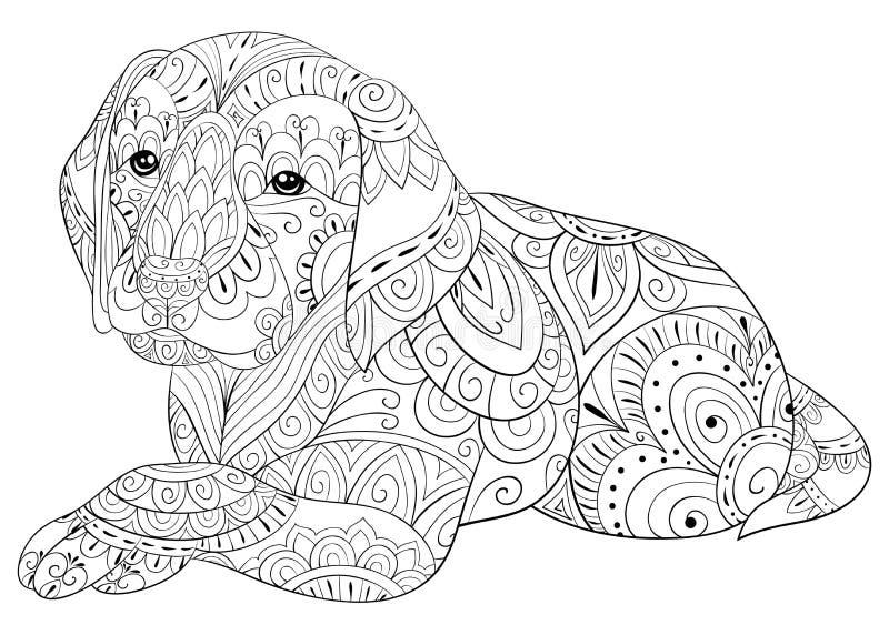 Vuxen färgläggningsida en gullig hund för att koppla av Illustration för Zenkonststil royaltyfria foton