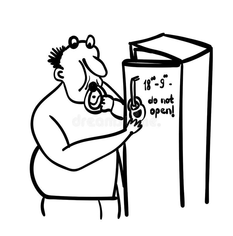 Vuxen fet man på för banta en stöldmat i hemlighet från kylskåpkomikerillustration royaltyfri illustrationer