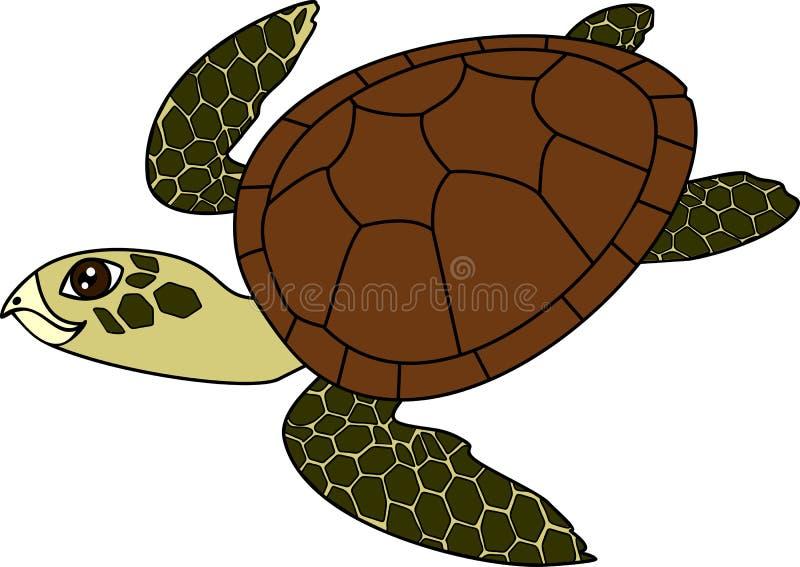 Vuxen gullig sköldpadda för tecknad filmsimninghav på vit bakgrund stock illustrationer