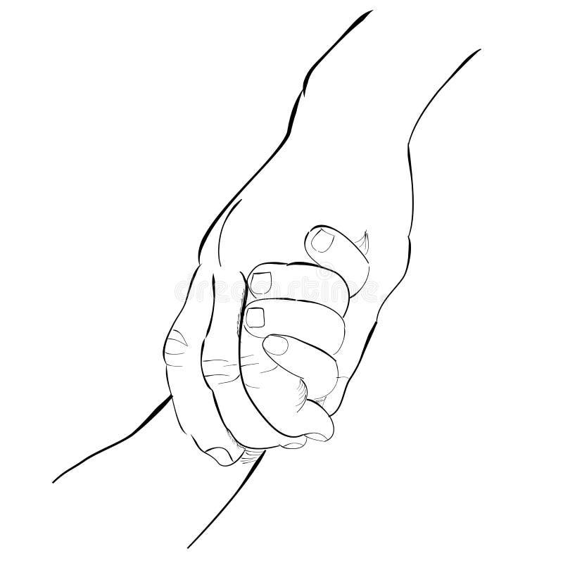 Vuxen hand och att behandla som ett barn handen vektor illustrationer