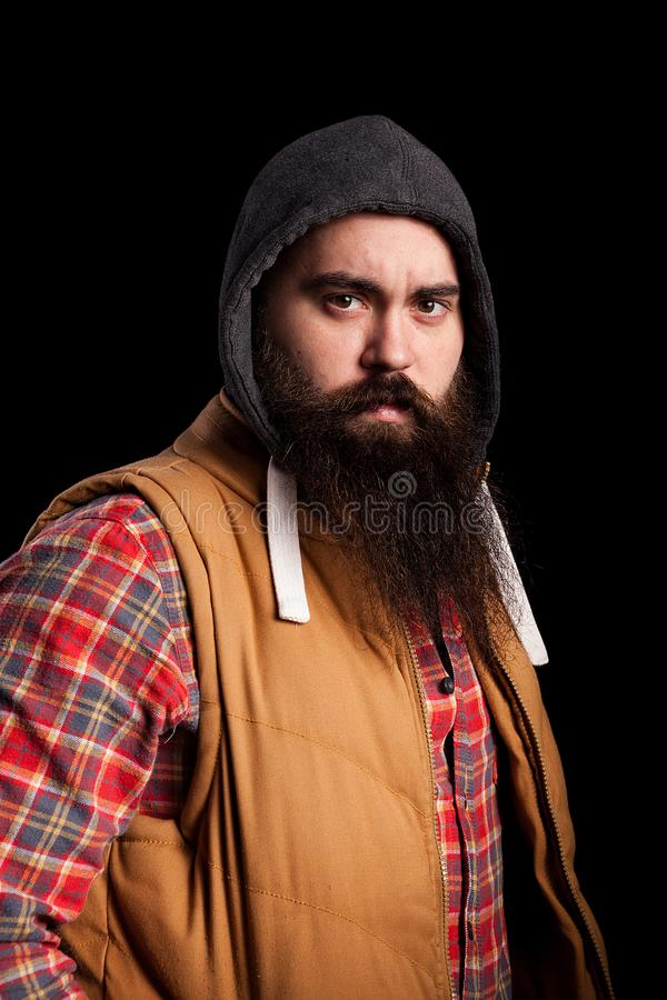 Vuxen hipsterman med det långa skägget arkivbilder