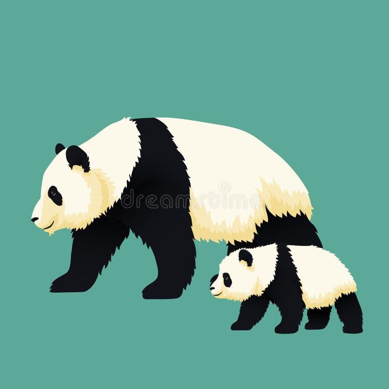 Vuxen jätte- panda och att behandla som ett barn pandan som tillsammans går Kinesisk björnfamilj Moder eller fader och barn royaltyfri illustrationer