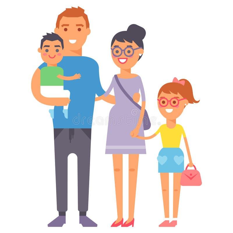 Vuxen lycka för familjfolk som ler begreppet för gruppsamhörighetskänslabarnuppfostran och den tillfälliga föräldern som är gladl royaltyfri illustrationer