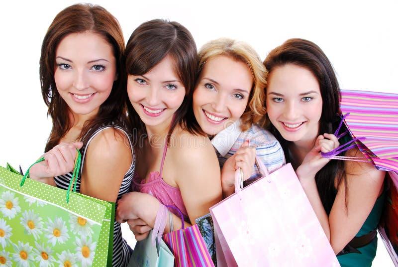 vuxen människa bags le för shopping för gulliga flickor lyckligt royaltyfri bild