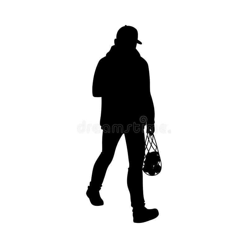 Vuxen man i varmt gå för omslag och för baseballmössa Svart kontur som isoleras p? vit bakgrund Bekl?da besk?dar monokrom royaltyfri illustrationer