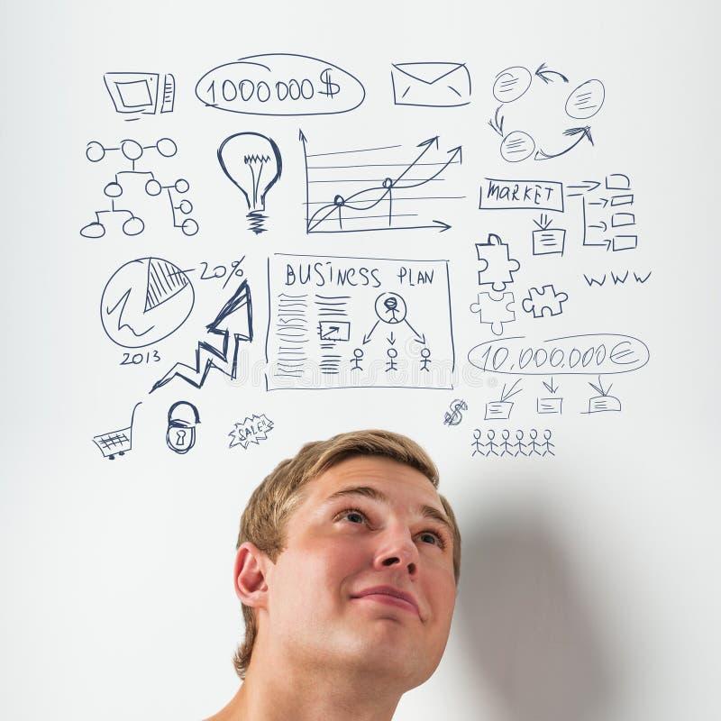 Vuxen man som tänker av hans plan royaltyfri illustrationer