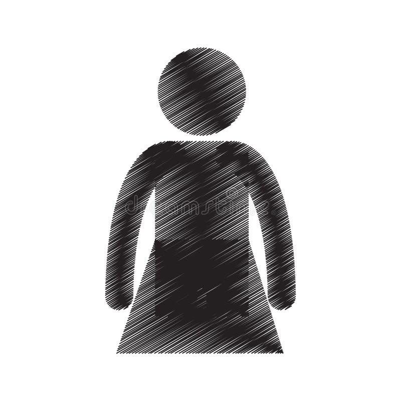 vuxen pictogramattraktion för kvinnlig stående person stock illustrationer