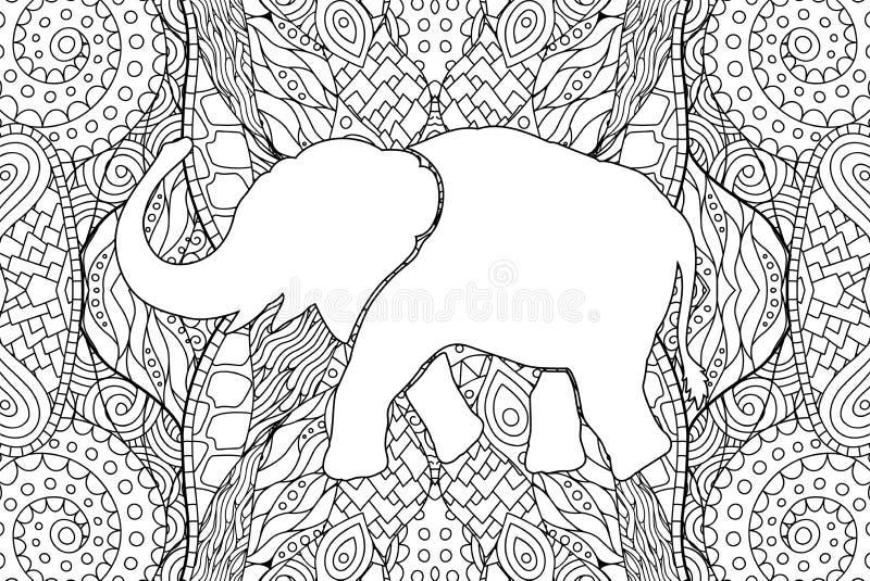 Vuxen sida för färga bok med elefantkonturn stock illustrationer